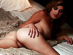 Natasha Malkova with tiny boobs and trimmed beaver gets down all by herself