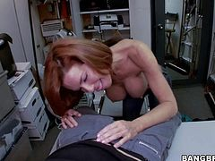 Adorable redhead milf Veronica Avluv with big tits and tight ass gets naked for slim pale dude and suck his meaty rock hard cock in point of view in his office.