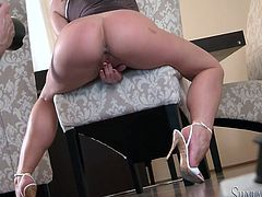 Classy looking MILF is filming in high-quality solo masturbation porn video produced by Fame Digital productions. She plays with her snatch in front of the camera but you gonna witness the action from backstage view.