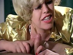 Extra hot blonde slut gives blowjob sucking two dicks at the same time. Then she shares one cock with her voluptuous black haired girlfriend.