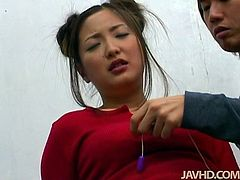 Cute Japanese chick Katsumi Matsumura is in empty college room with her kinky coed. Dude licks Katsumi's chubby cheeks and pets her puffy hairy pussy with egg vibrator.