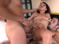Lady Mai gets sandwiched by two guys with big cocks. One of them cums while he is fucking her ass hole and the other one saves his load for her pretty face.