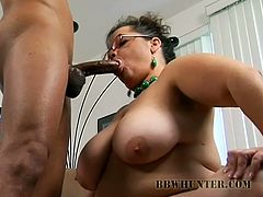Sexy BBW with huge tits get black dude to pound her twat roughly. She gives him deepthroat blowjob before he slams that wrecked cunt.