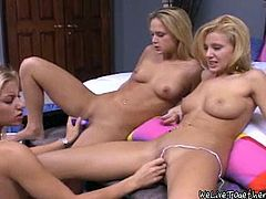 Masturbate watching these three lesbian babes, with natural tits and perfect asses, while they put big toys inside their wet cunts!