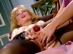 Sensual blonde bitch lies on her back and moans with joy while one girl fucks her soaking wet snapper with dildo. Then horny lesbian goes down on her girl licking her delicious hairy snatch.