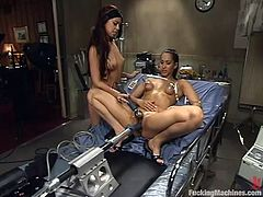 Two horny brunettes use pumps and fucking machines