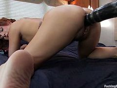 We have here a lustful ginger called Sara Faye who is going to get her pussy fucked by some machines that give her plenty orgasms.