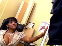 Horny MILF from Latin America gives a blowjob in her office. After that she gets her yummy pussy licked and fucked. In addition she gets pounded in the ass.