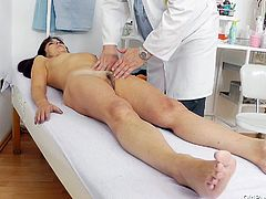 Lada is an old pussy and she needs to check out her cunt at the doc. Here she is, laid on the table as the doc looks at her hairy vagina. Everything seems to be alright with her as the doc gapes that snatch. Maybe he will test her in other ways such as fucking her really hard to see if she still gets wet.