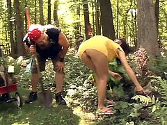 Curvy brunette milf is playing dirty games with some dude in a forest. She shows her twat to the guy and then sucks his prick and takes a fervent ride on it.