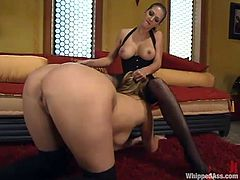 Roxanne Hall and Vanilla Sky are having fun in the living room. The dominatrix beats her slave's butt and then humiliates her in many ways and plays with her juicy snatch.