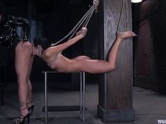 Ashli Orion and Claire Dames are having fun in a basement. The submissive chick gets whipped and humiliated and then puts a mask with a strapon on her face and satisfies her horny mistress.