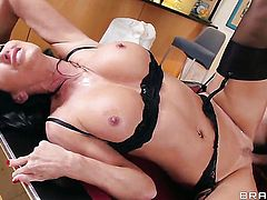 Lezley Zen with giant hooters turns Keiran Lee on and takes his tool in her mouth
