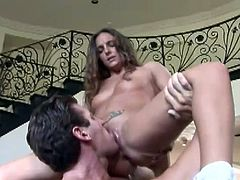 Charming brown-haired chick Lexi Love is getting naughty with some guy. They have ardent oral sex and then Lexi takes a hot ride on the man's weiner.