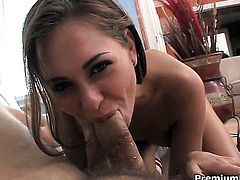 Riley Reid gets her mouth stretched by meaty rock solid meat pole of hot dude