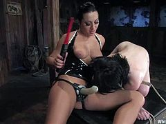 Sexy Andy San Dimas gets whipped and humiliated by nasty Sandra. After that she also gets clothespinned and toyed deep with sex toys.