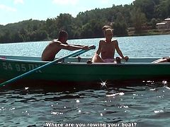 Blonde Russian girl with small tits and shaved pussy gets nailed hard on a boat. While she is sucking juicy cock she gets hammered bad doggy style. Later on she is double penetrated.