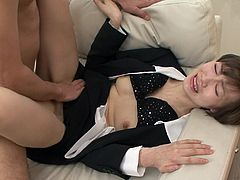 Nasty chick with perky tits and hairy pussy polishes two hard cocks. She is penetrated in her hairy clam missionary style. She keeps on sucking cock while getting nailed mish style. Hot MMF threesome scene brought to you by Jav HD.