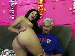 Slim brunette girl toys her vagina with a dildo and a vibrator at the same time. Later on she gets her vagina licked and fingered by a bald guy.
