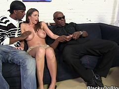 These guys help her to fix her car and she thanks them with amazing gangbang. They nailed her tight cunt and cover her face with huge load of sperm.