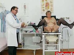 Berta opens wide for equally mature doctor. This granny seems to enjoy this examination in the clinic as he gapes her pussy with his kinky tools to the extremes.