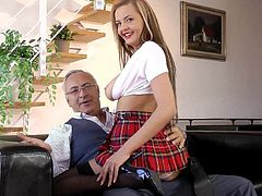 Sweet schoolgirl Candy Alexa enjoys full porn session along senior guy with a strong cock