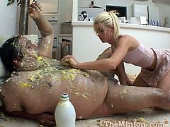 Crazy Messy Fetish Video of a Guy Covered in Food Getting Blown