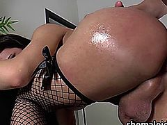 Busty latina shemale Danielly Colucci gets her big butt fucked hard doggystyle and whie on top. She keeps stroking her dick while she sits on that big cock and she cums hard. Her cum drips all over her big dick and hands and then she recieves the cumshot of her guy friend as well.