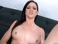 Kendall Karson polishes Will Powerss rock hard cock with her lips
