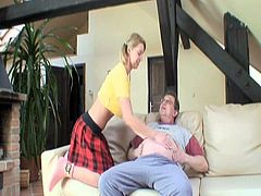 This young blonde is looking for hot sex today and no one is around to satisfy her lusty pussy.But luckily she finds her grandpa in the living room.Watch how this lucky grandpa licks and fucks her hard.