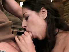 Brunette Addison Dark enjoys another hardcore sex session with horny dude