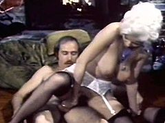 Lusty babes are having a great fuck during top vintage threesome show