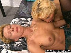 These two mature German sluts only have one cock to play with. They wait their turn to get fucked.