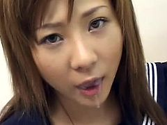 Young japanese doll receives a huge load splashing all over her sweet face