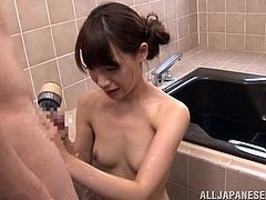Fragile, pretty and with a slim, young body the innocent Asian girl is about to discover what men want from her. She's all alone in the bathroom with this older man and he wants to take advantage of her young body. The man undresses her and washes her pussy before kneeling the cutie to mouth fuck her