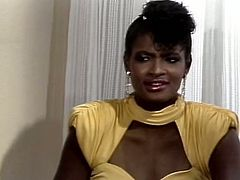 Blonde and ebony girlfriends seduce one waiter and start to suck his dick. Later he fucks insatiable lesbians one by one right on the table.