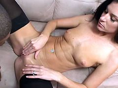 Sexy brunette India Summer gets her holes stretched by bbc