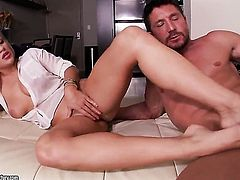 Blonde is horny as hell and fucks with wild enthusiasm in sex action with hot dude