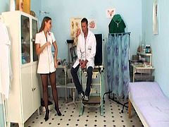 See this lusty Czech blond nurse seducing her doctor for his big cock.She strips off her clothes and sucks his big cock before her fucks her tight cunt hard and deep in the clinic.