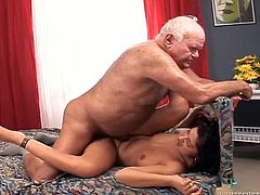 Cute brunette Tera Joy kneels in front of Grandpa Cocksthrill and pleases him with a blowjob. Then they fuck in cowgirl and missionary position and Tera's shaved pussy gets very juicy.