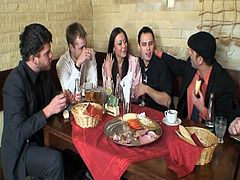 Watch this hot group of horny boys with one sexy brunette babe in restaurant.This sexy slut sucks one boys behind the wall as other were busy talking and eating.See her getting fucked by that hard cock on the stairs but she ends with getting her lovely face cummed by all the boys cums.