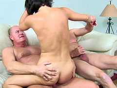 Black haired lusty hooker with nice juicy tits and good looking body gives head to two filthy dudes and gets pink tight twat pounded balls deep in wild threesome.