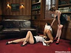 Julie Night and Natali Demore are going to be under the possession of their boss! She blindfolds them and tortures so fucking hard!