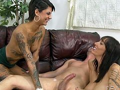Two sizzling brunettes Alia Janine and Bonnie Rotten are having fun with some man indoors. They suck and rub his boner ardently and seem to enjoy it much.