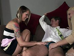 This is a nice free threesome porn video on anyporn.com! Two filthy babes are giving him a damn good double blowjob. The next is so hot!
