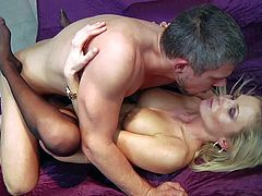 Always horny milf Laura Crystal with big firm tits and smoking hot body in stockings only has intensive orgasm while slim Mick Blue pounds her wet twat in cheep hotel room.