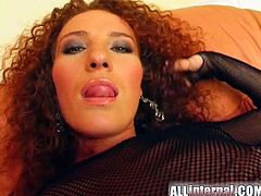 Watch this horny redhead playing with her tight pink pussy in this hardcore scene before this guy fucks her silly until she's filled by warm cum.