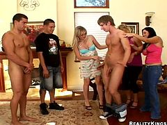 Click to watch this three ladies having fun with other three naked guys in the living room of a house. Everything goes hardcore with these horny people!