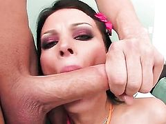 With huge boobs and hairless bush loves giving suck job