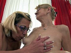 These saggy, old sluts are misbehaving again! Beata and Milli suck each other's nipples and then Milli lays on her back, spreading her thighs. The other granny begins to lick her saggy snatch and makes the whore moan. Wanna see more from these wild grannies? Then why not stick around!
